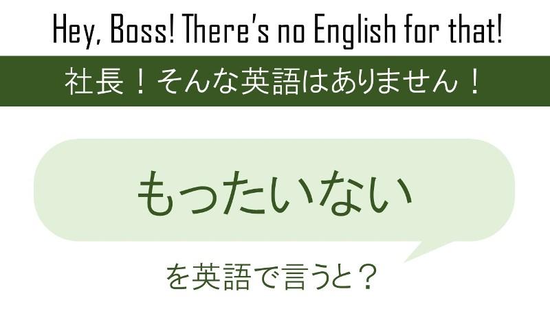 もったいないを英語で言うと